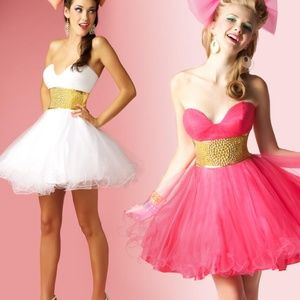 MacDuggal Short Tulle Prom Dress in Watermelon